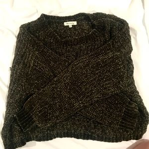 Olive green soft knit cropped sweater